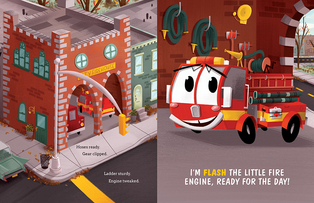 Interior page from Flash the Little Fire Engine children's book