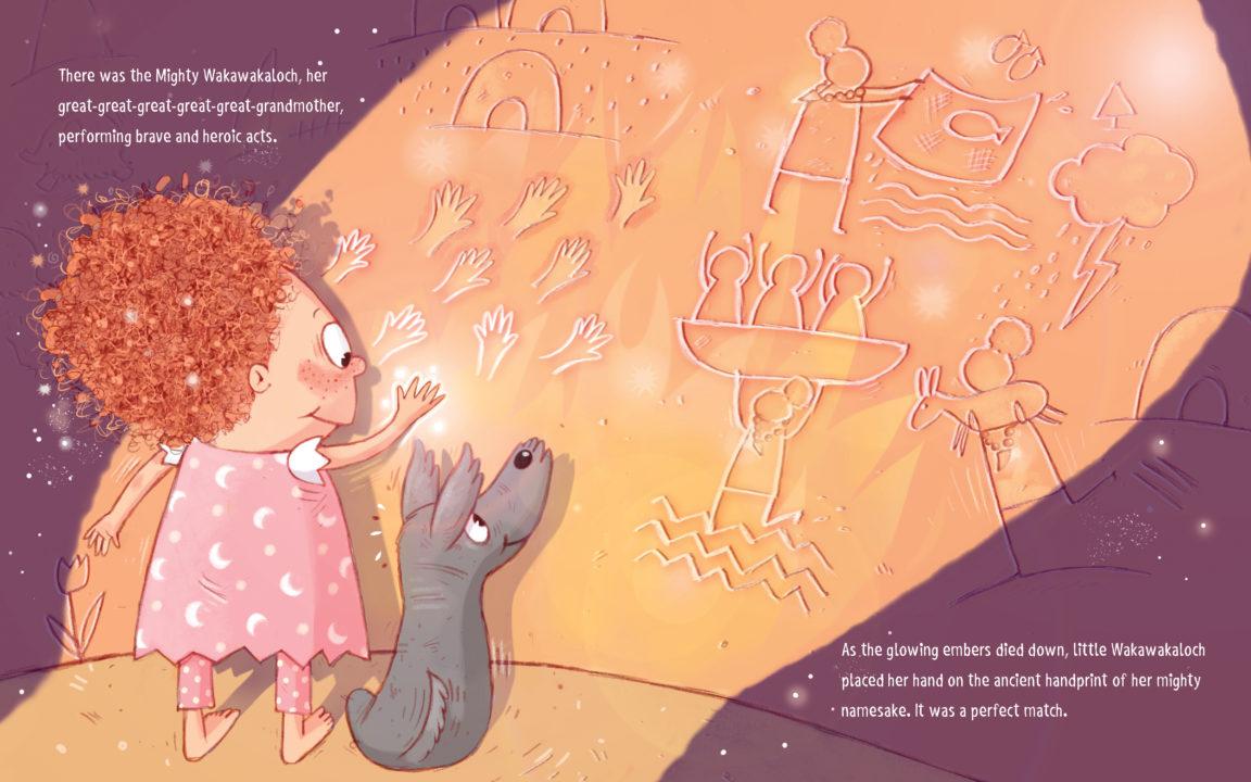 Interior page from children's book My Name is Wakawakaloch