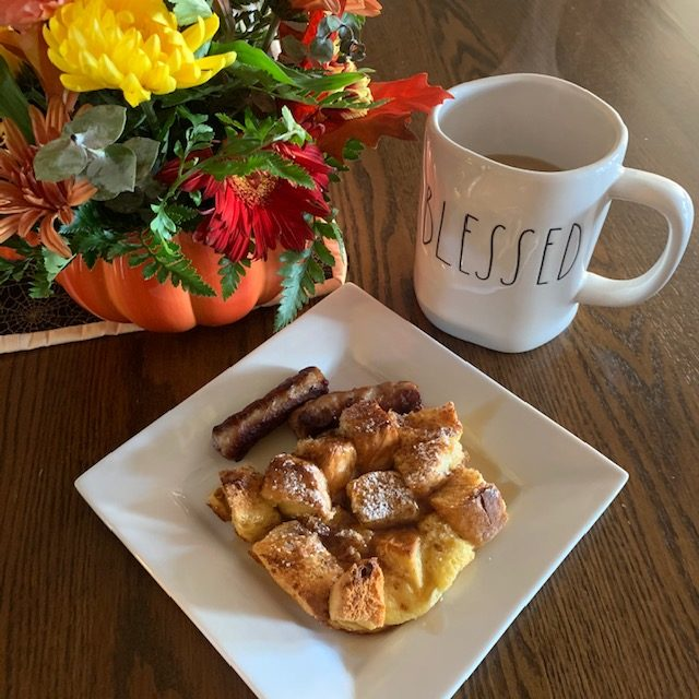 French Toast Casserole plated from One Pot Cooking for Two